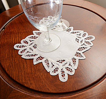 Battenburg Lace. Square Doilies. 7x7 in. White. 12pieces